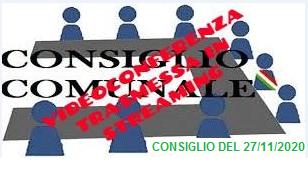CONSIGLIO COMUNALE DEL 27 NOVEMBRE  2020 - STREAMING -