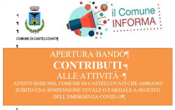 Bando per l'erogazione di contributi alle attività che hanno subito una sospensione a causa COVID-19